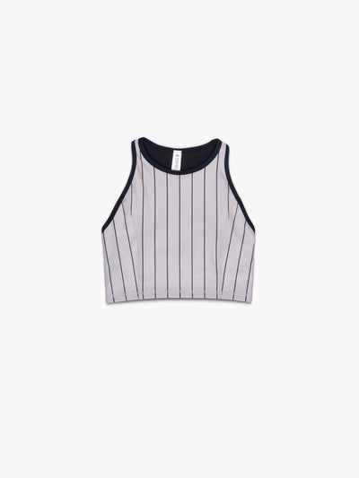 Strike Movement women's Classic Sports Bra in Navy Pinstripe racerback tank crop top