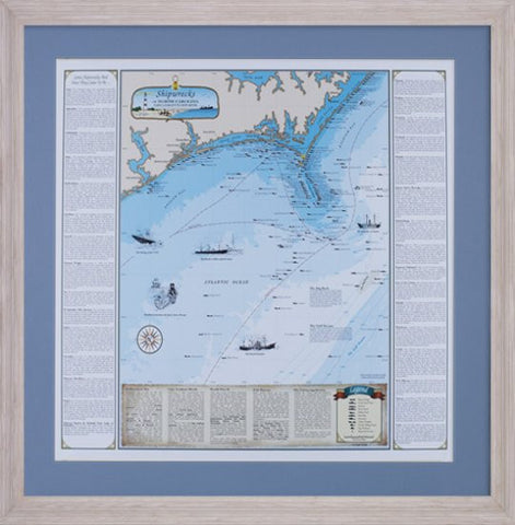 Framed NC Shipwreck Chart: Cape Lookout to New River