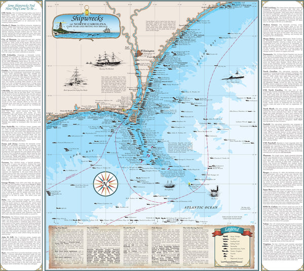 North Carolina Shipwreck Chart Cape Fear And Frying Pan