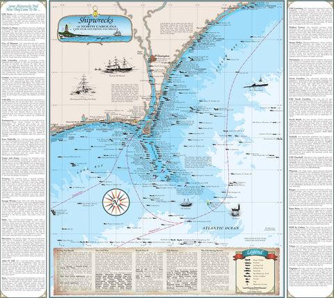 North Carolina Shipwreck Chart: Cape Fear and Frying Pan Shoals