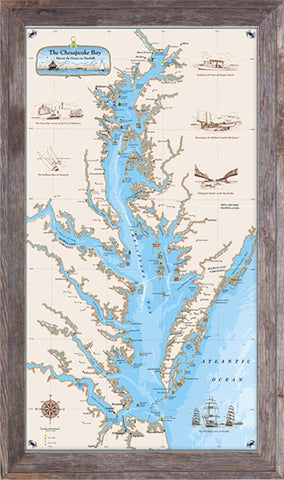Framed Original Chesapeake Bay Chart