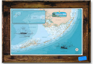 Lobster Trap Framed Original Florida Keys Chart