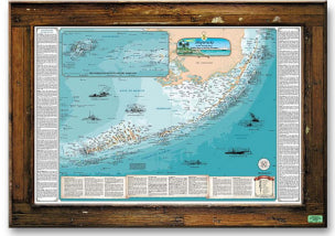 Lobster Trap Framed Florida Keys Shipwreck Chart