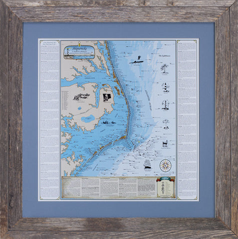 Framed North Carolina Shipwrecks Chart: Cape Hatteras and the Outer Banks