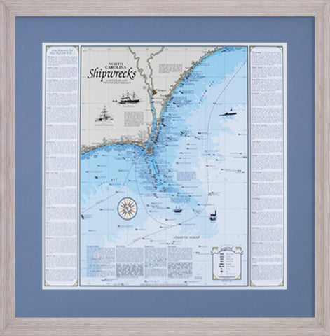 Framed North Carolina Shipwreck Chart: Cape Fear and Frying Pan Shoals