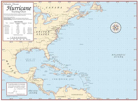 photo relating to Printable Hurricane Tracking Maps named Laminated Hurricane Monitoring Map Hurricane Monitoring Charts