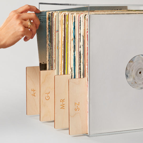 Engraved Gold Record Dividers for organizing records alphabetically.
