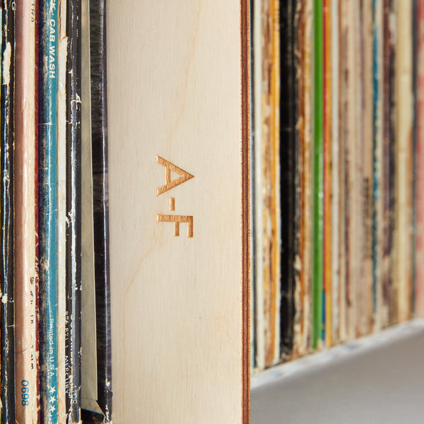 Record Collectors deluxe set of A-Z record dividers, Wood panels with gold engraving