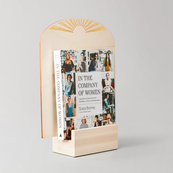 Use this larger wood art display to showcase a selection of records, zines or other print media.