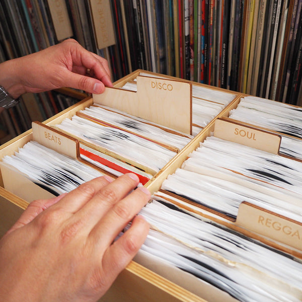 wood record dividers to organize rare, collectable 45 rpm records