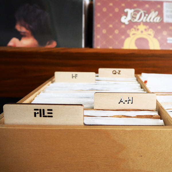 If you organize your 45s by artist, alphabet, genre, label or BPM or sub-genre we can customize a set of wood record dividers panels just for you.