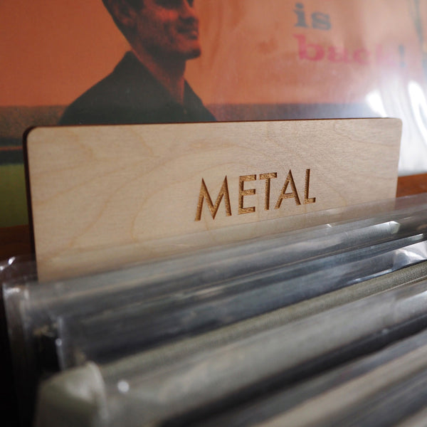 Heavy metal LPs and records, Choose your gold lettering option for custom record dividers: Gold Futura or Gold serif