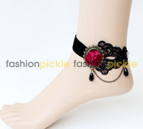 Black Lace Handmade Anklets With Red Rose