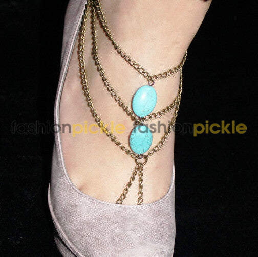 Turquoise And Bead Anklets