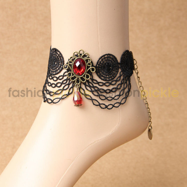 Black Web With Red Stone Anklets