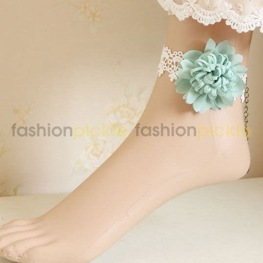 White Lace Pastel Green Flower Anklets