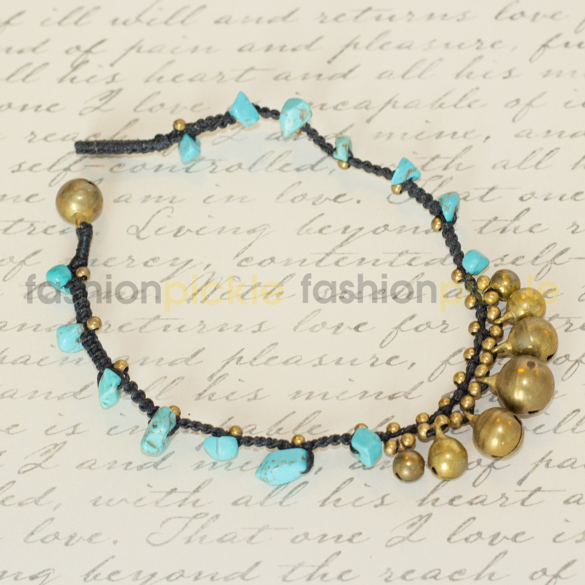 Handmade Anklet   Blue Stones With Bells