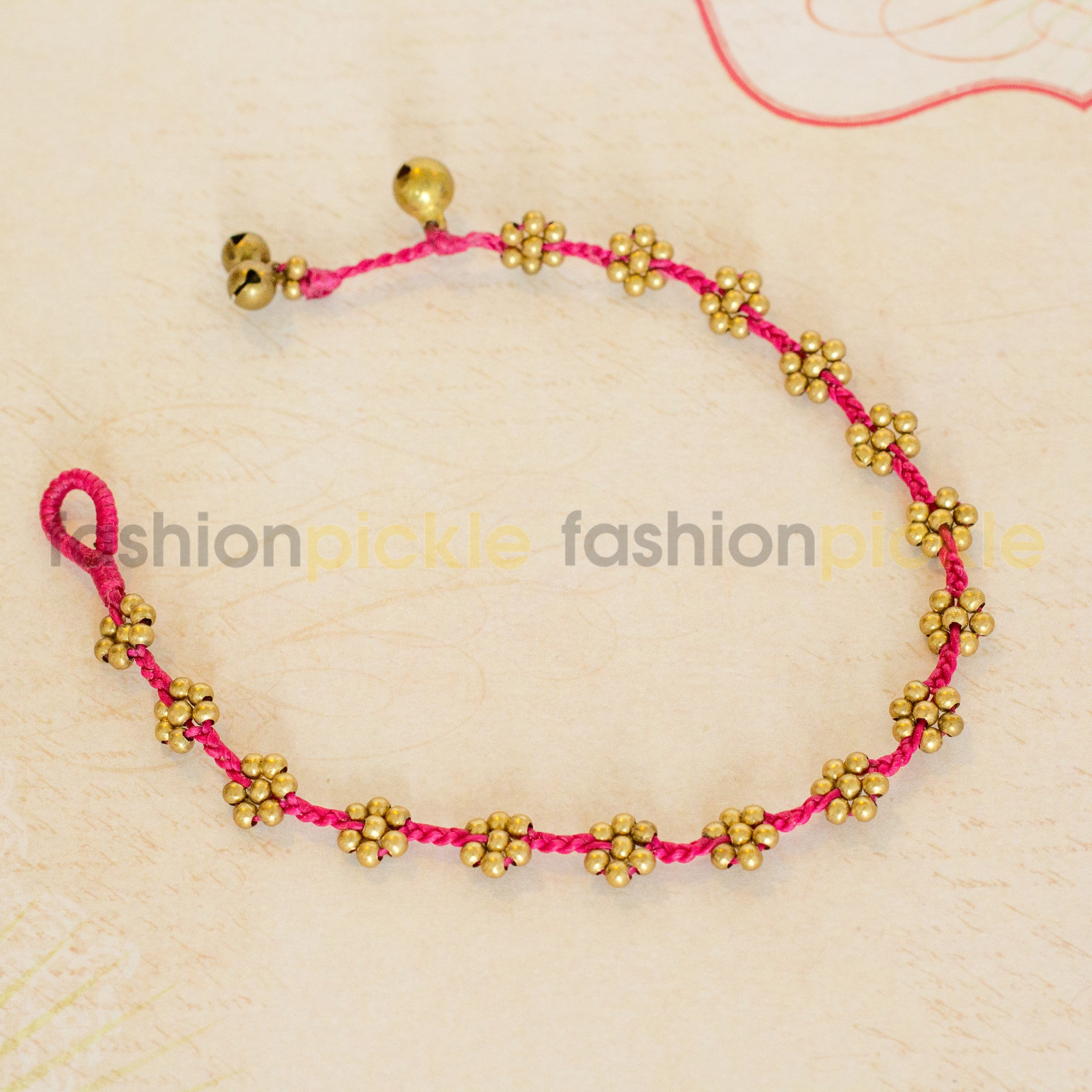 Handmade Anklet   Pink Gold Flowers