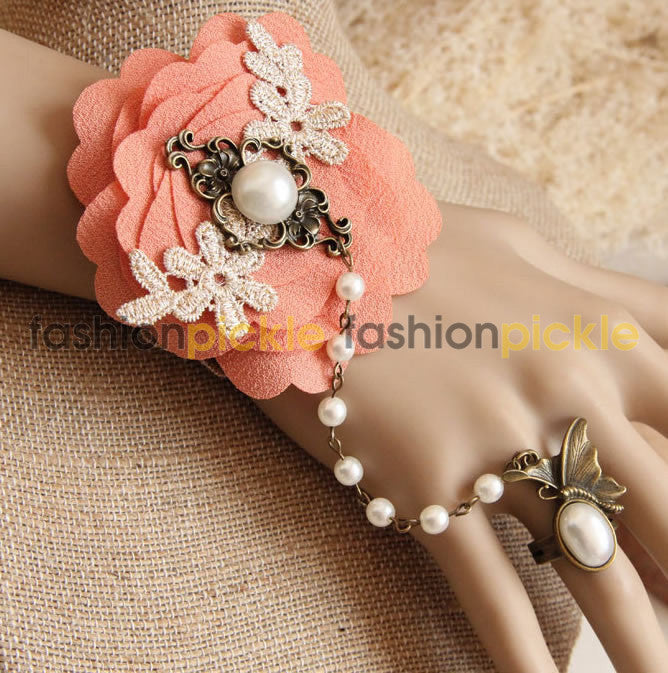 Peach Flower And Pearl Vintage Wristlet