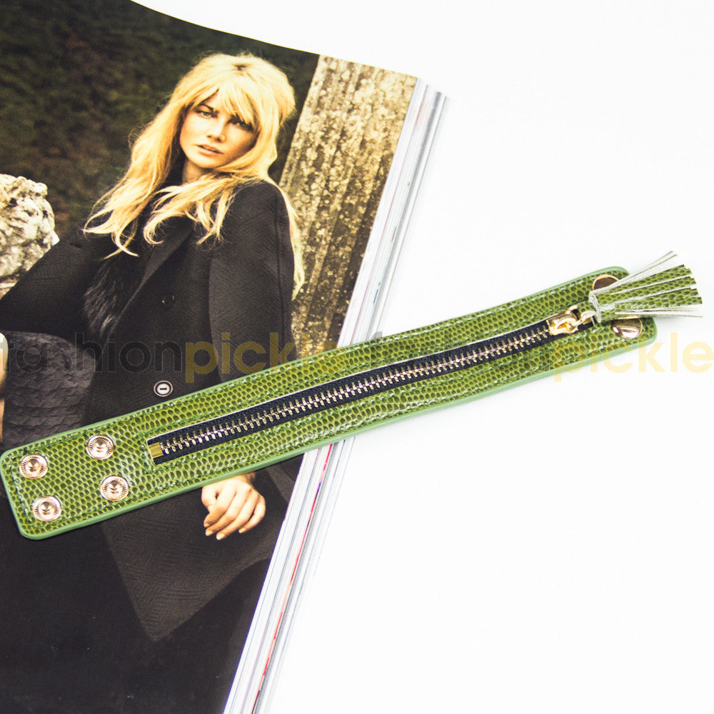 Ab0321   Green Zipper Faux Leather Band