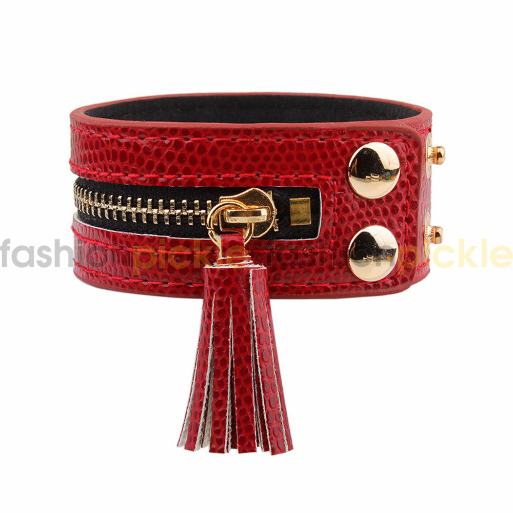 Ab0322   Red Zipper Faux Leather Band