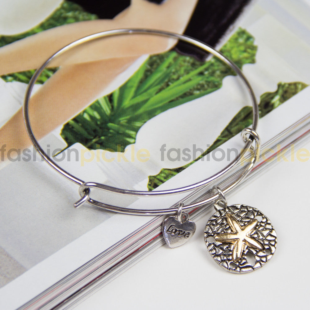 Ab0324   Charms Bracelet   Silver With Gold Star