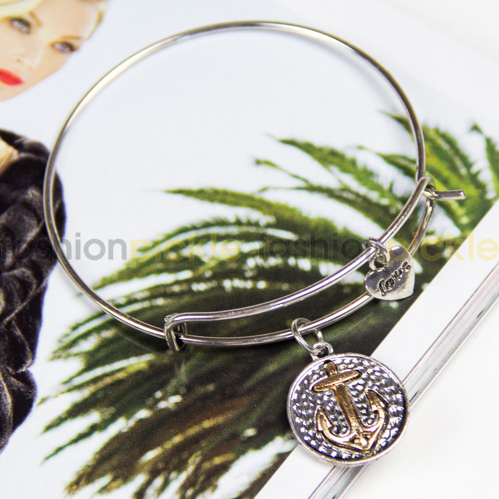 Ab0327   Charms Bracelet   Silver Color With...