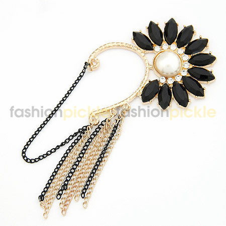 Gold And Black Chains With Black Flower Ear Clip