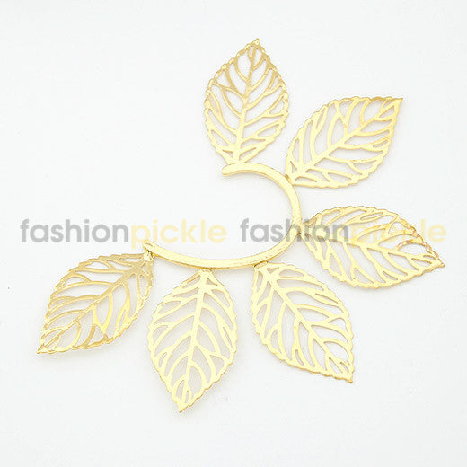 Large Gold Leaves Ear Clip