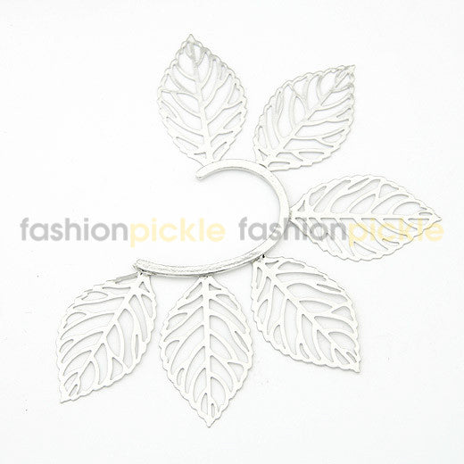 Large Silver Leaves Ear Clip