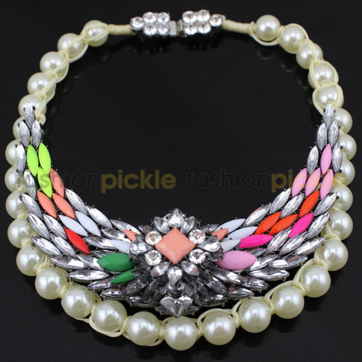 Multicolor Stone And White Pearls