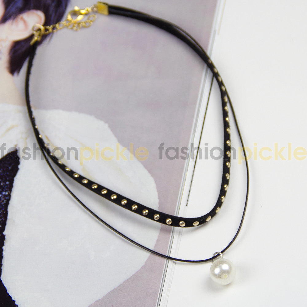 Cora Dual Layer Black Choker Perl