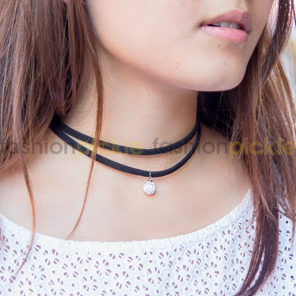 Cilia Dual Layer Black Choker With Crystal Ball