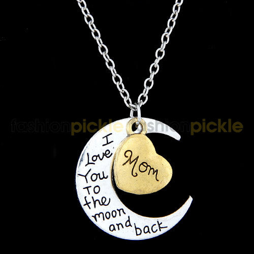 Love You To Moon And Back   Mom   Necklace