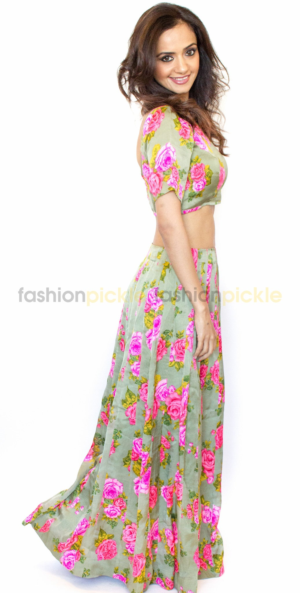 b236328d0060c Long Silk Skirt with Matching Crop Top - Fashion Pickle