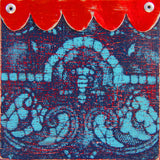Ceramic Tiles, Handmade Tiles, Kitchen Tiles, Blue and Red Tiles, Lace and Scallop  Damask Tiles, Stenciled Tiles