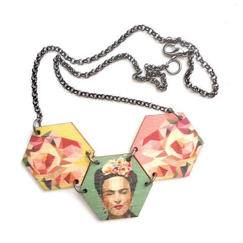 frida hex necklace. Frida Kahlo necklace.