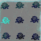 Ceramic tile, roses pattern, kitchen tiles, grey and blue tiles, funky tiles.