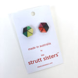 Hexagonal Geo Print Stud Earrings Green/Red