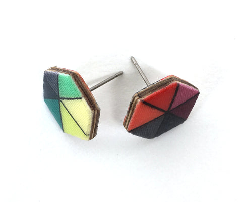 Handmade geo print hex stud earrings