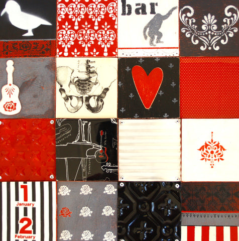 Decorative Wall Panelling, Tri Tone, Black, red and white, multicolour, retro imagery, wall covering,bespoke, vintage handmade