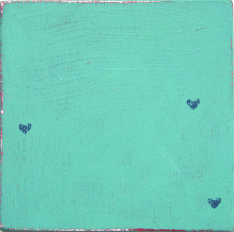 Ceramic tile, wood look tile, little hearts, funky coloured tiles, blue, azure, turquoise tile.