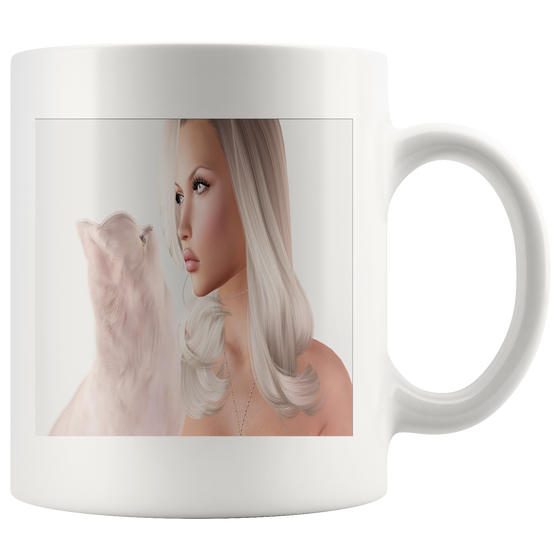 White 11oz Fantasy Fashion Fairy and Kitty Coffee Tea Mug