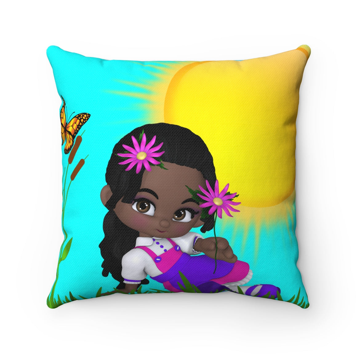 My Fabulous Style Beautiful Kids Throw Pillow--Little One In the Sun Square Throw Pillow for Children