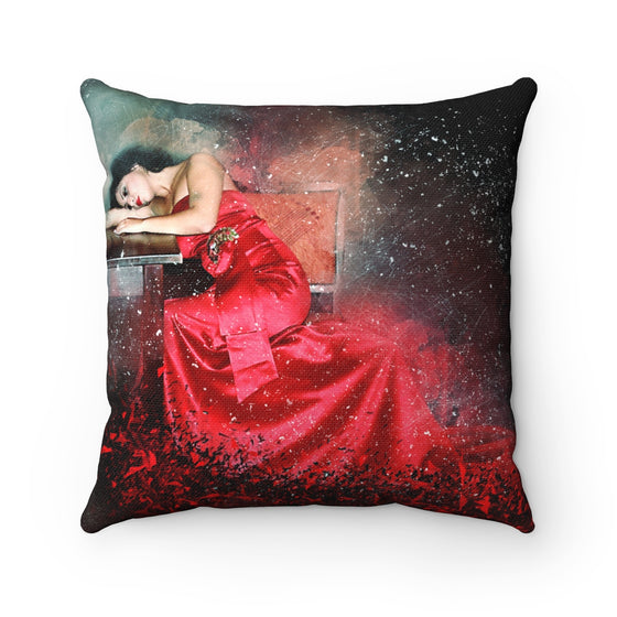 My Fabulous Style Beautiful Heart of a Lady in a Red Dress Square Throw Pillow-- Home Decor Fashion Throw Pillow