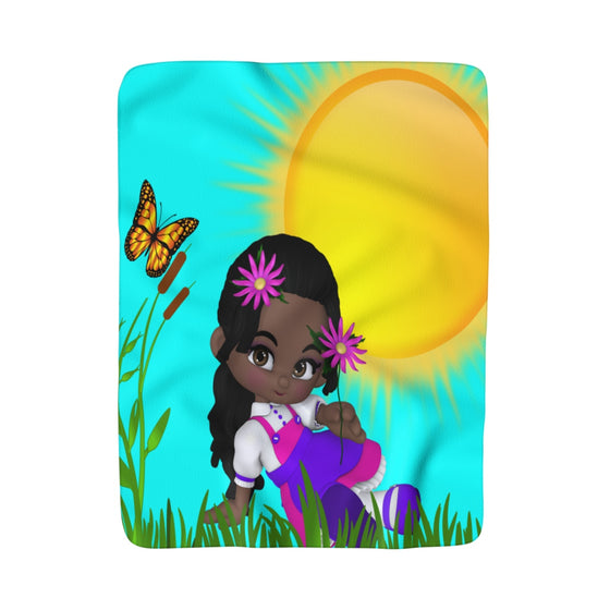 My Fabulous Style Made to Order Sunset and Flowers Sherpa Fleece Blanket-Luxurious Fleece Blanket
