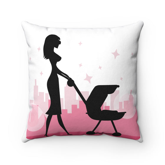 My Fabulous Style Beautiful Mommy and Me in the City Square Throw Pillow-- Home Decor Fashion Throw Pillow