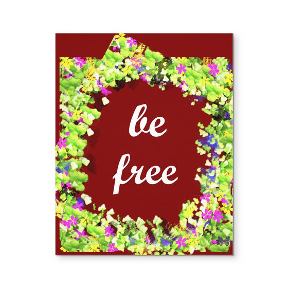 Be Free Inspirational Bohemian Floral Quote Canvas Print Wall Art 2021