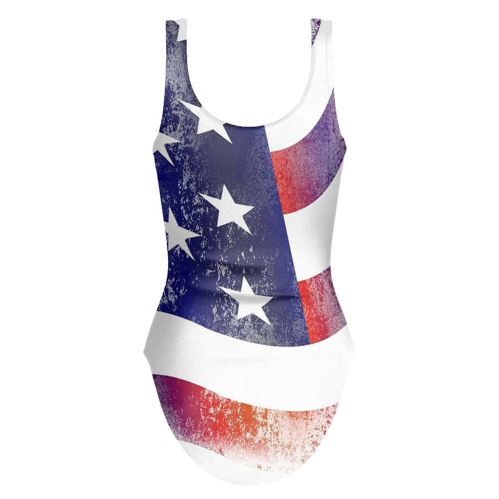 Gorgeous Hand Cut American Flag One Piece Swimsuit