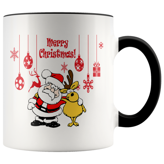 Cute Santa and Reindeer Merry Christmas Coffee Mug